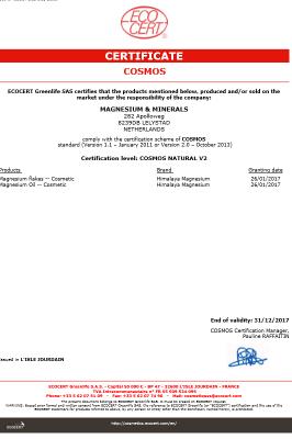 Ecocert Cosmos magnesium minerals certificaat